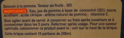 Boisson à la pomme - Ingrédients
