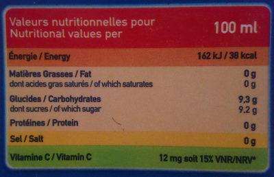 Boisson à la pomme - Informations nutritionnelles