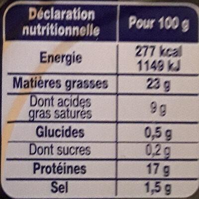 Le Pâté Hénaff, Avec filets et jambons - Informations nutritionnelles