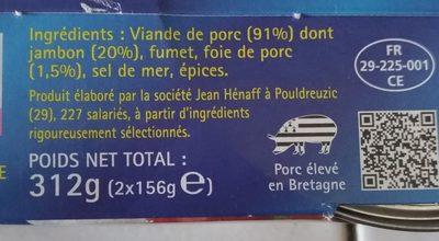 L2 1X5Pate Porc Henaff Os, - Ingrédients - fr