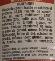 Canard Mitonné Petits Pois et Carottes - Ingredients - fr