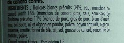 Cassoulet de Castelnaudary au Confit de Canard du Sud-Ouest - Ingredients - fr