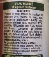Veau mijote - Ingredients - fr