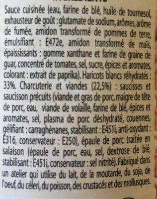 """Cassoulet Au Porc """"Coeur Du Marché"""" - Ingrediënten - fr"""