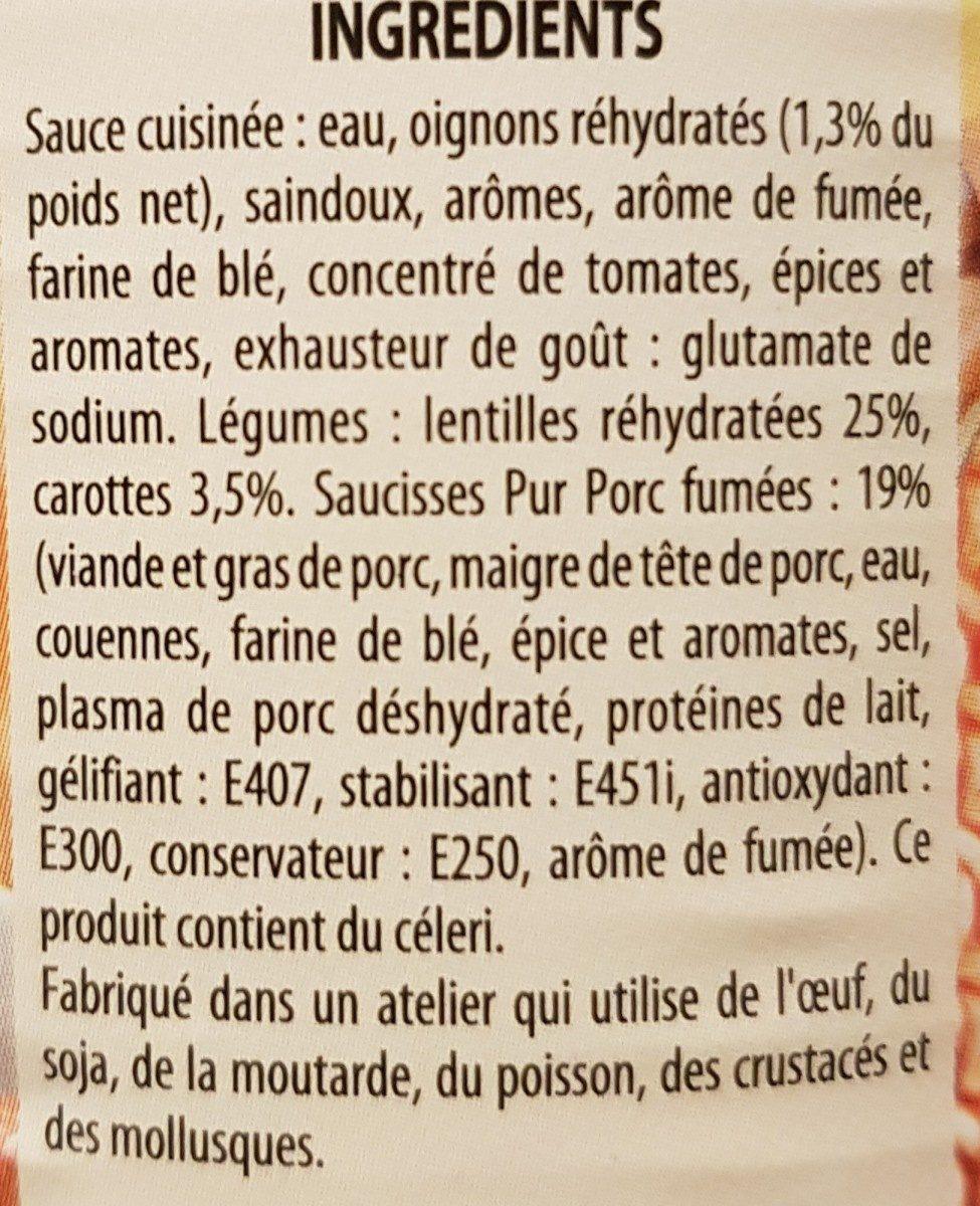 """Saucisses Aux Lentilles """"C?ur Du Marché"""" Raynal & Roquelaure - Ingredients - fr"""