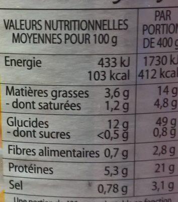 Le Poulet Rôti au Riz Cuisiné - Voedingswaarden - fr