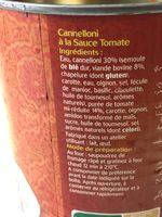 Cannelloni à la tomate - Halal - Ingrédients