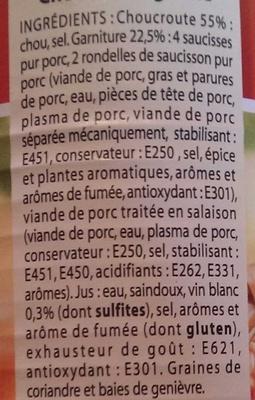 La Choucroute garnie - Ingredients - fr