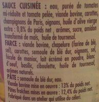 Cannelloni Pur Bœuf - Ingrédients