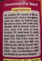 Cannelloni Pur Bœuf (Sauce Napolitaine) - Ingredients - fr