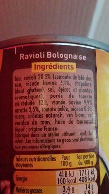 Ravioli Bolognaise (Sauce Riche en Bœuf) - Ingrédients - fr
