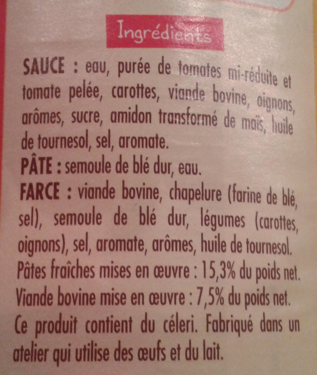 Ravioli Pur Bœuf (Sauce Tomate Cuisinée) Format familial - Ingrédients - fr