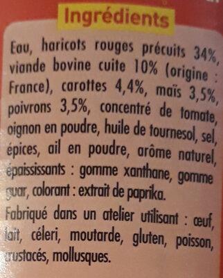 Chili con carne au bœuf - Ingrédients - fr