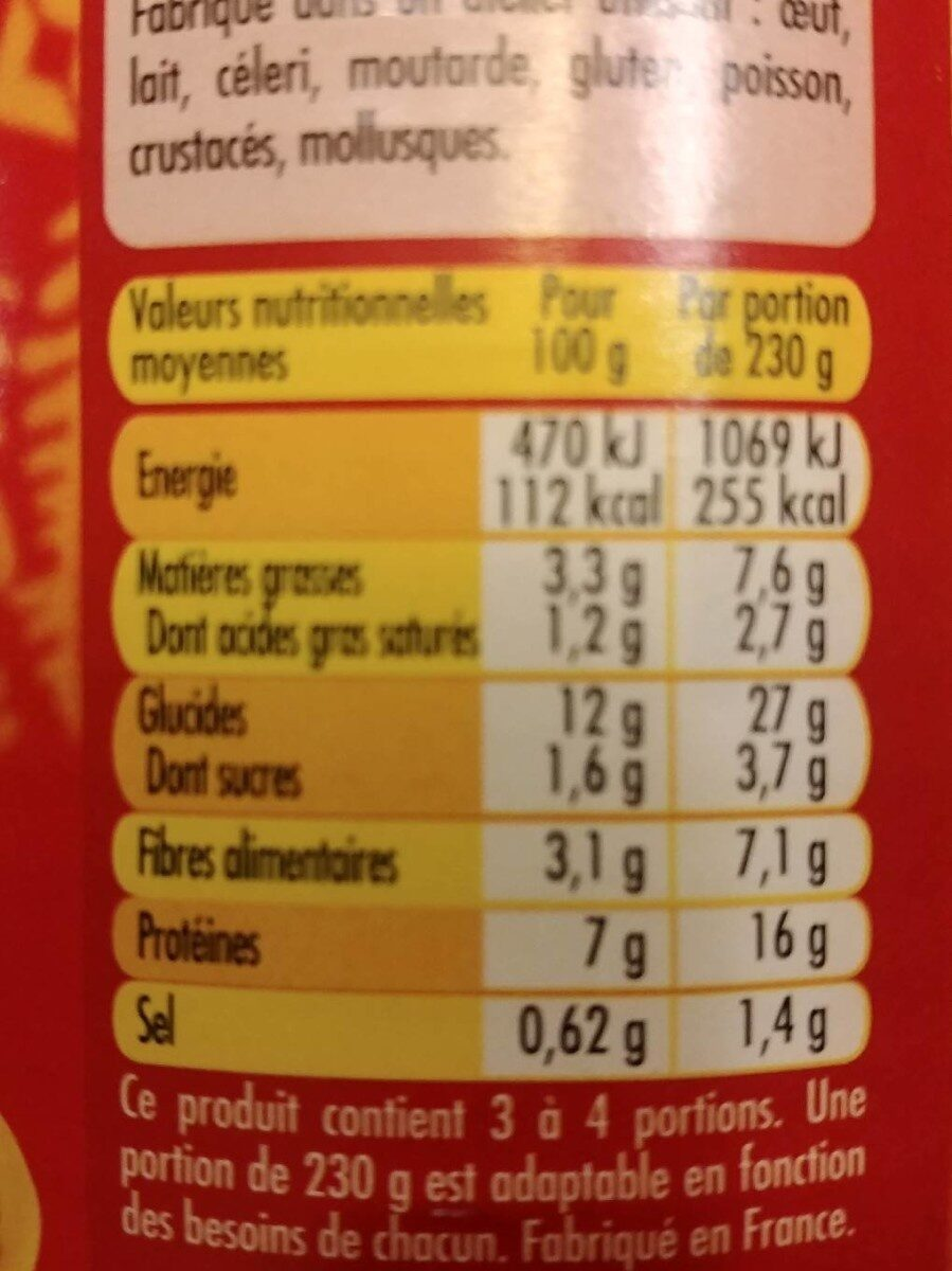 Chili con carne au bœuf - Nutrition facts - fr