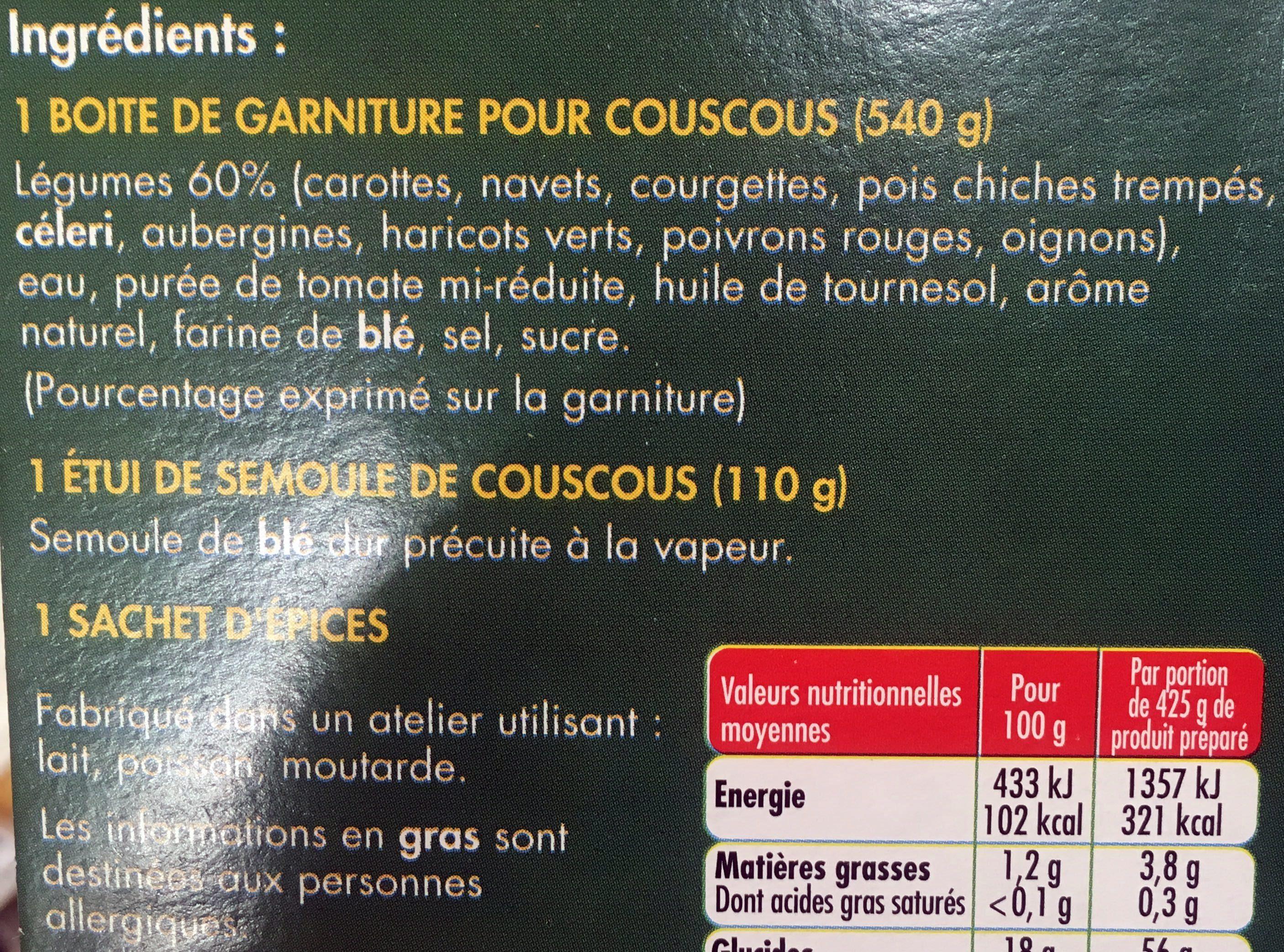 Couscous aux 9 Légumes - Ingrédients