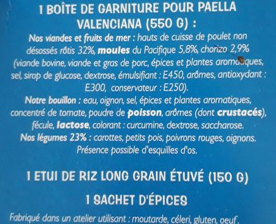 Paella Valenciana - Poulet, Fruits de mer, Chorizo - (2 Pers.) - Ingrédients