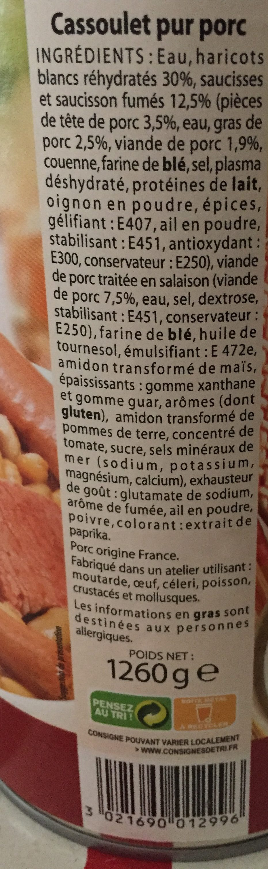 Cassoulet RAYNAL ET ROQUELAURE - Ingredients - fr