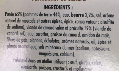 Parmentier de Canard - Ingredients - fr