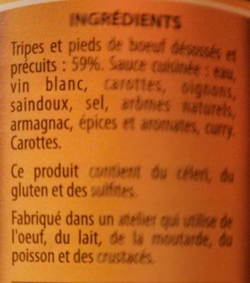 Tripes à la mode de Caen - Ingredients - fr