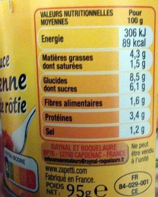 La sauce italienne à la viande rôtie (3 x 3021690017670) - Informations nutritionnelles