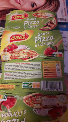 L.2X1 / 4 Sauce Pour Pizza Origan 190G Zapetti - Voedigswaarden