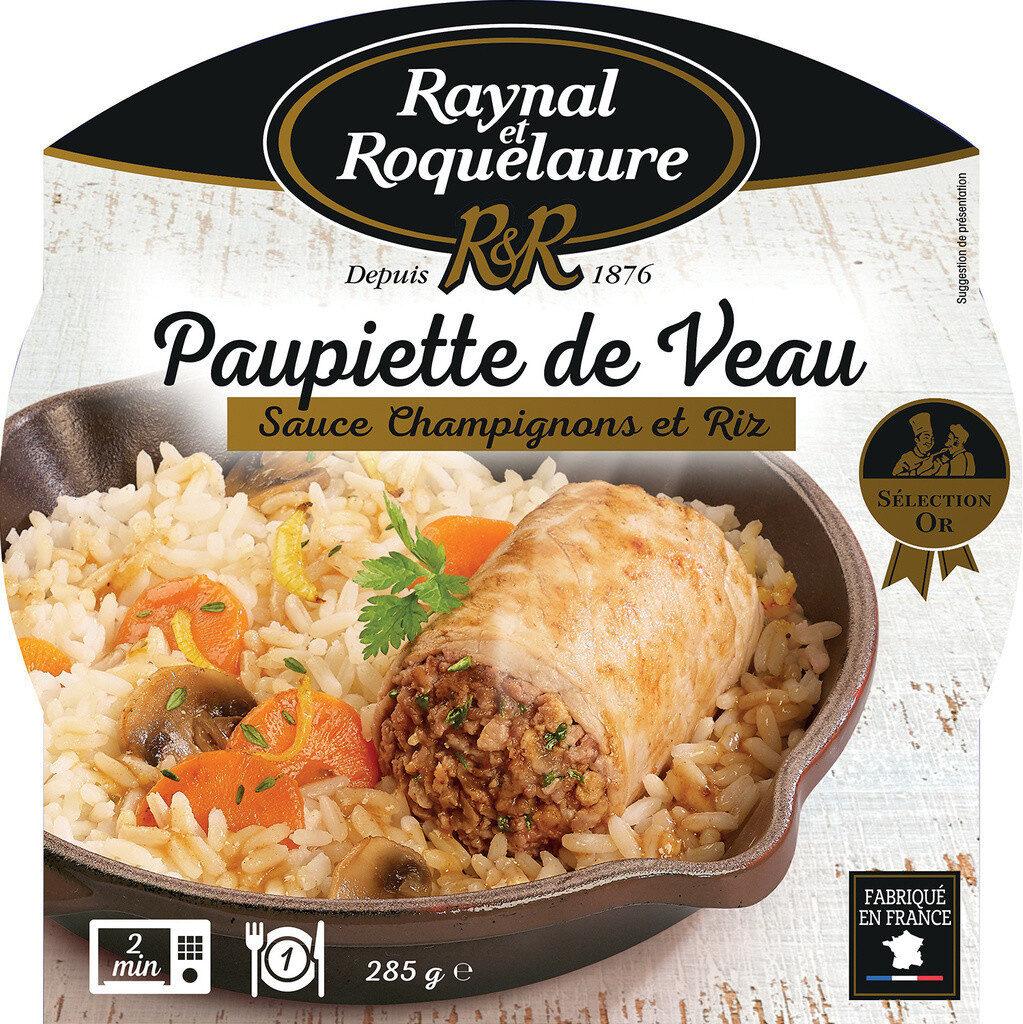 Paupiette de Veau, sauce aux champignons et Riz - Product - fr