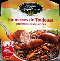 Saucisses de Toulouse aux lentilles cuisinées - Produit - fr