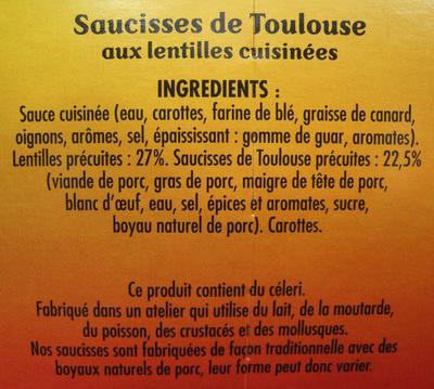 Saucisses de Toulouse aux lentilles cuisinées - Ingrédients