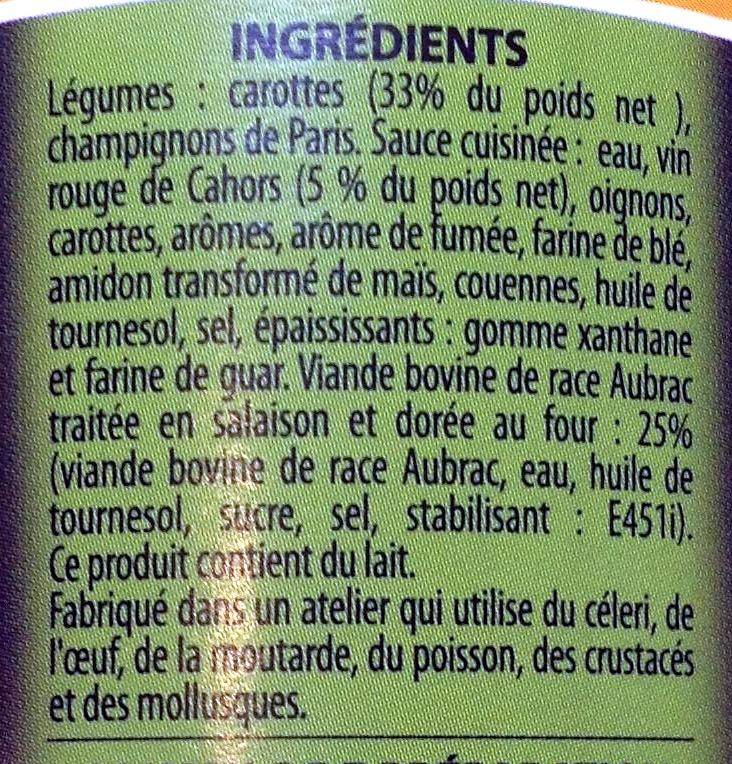 Bœuf aux Carottes Cuisiné au Vin de Cahors - Ingredients - fr