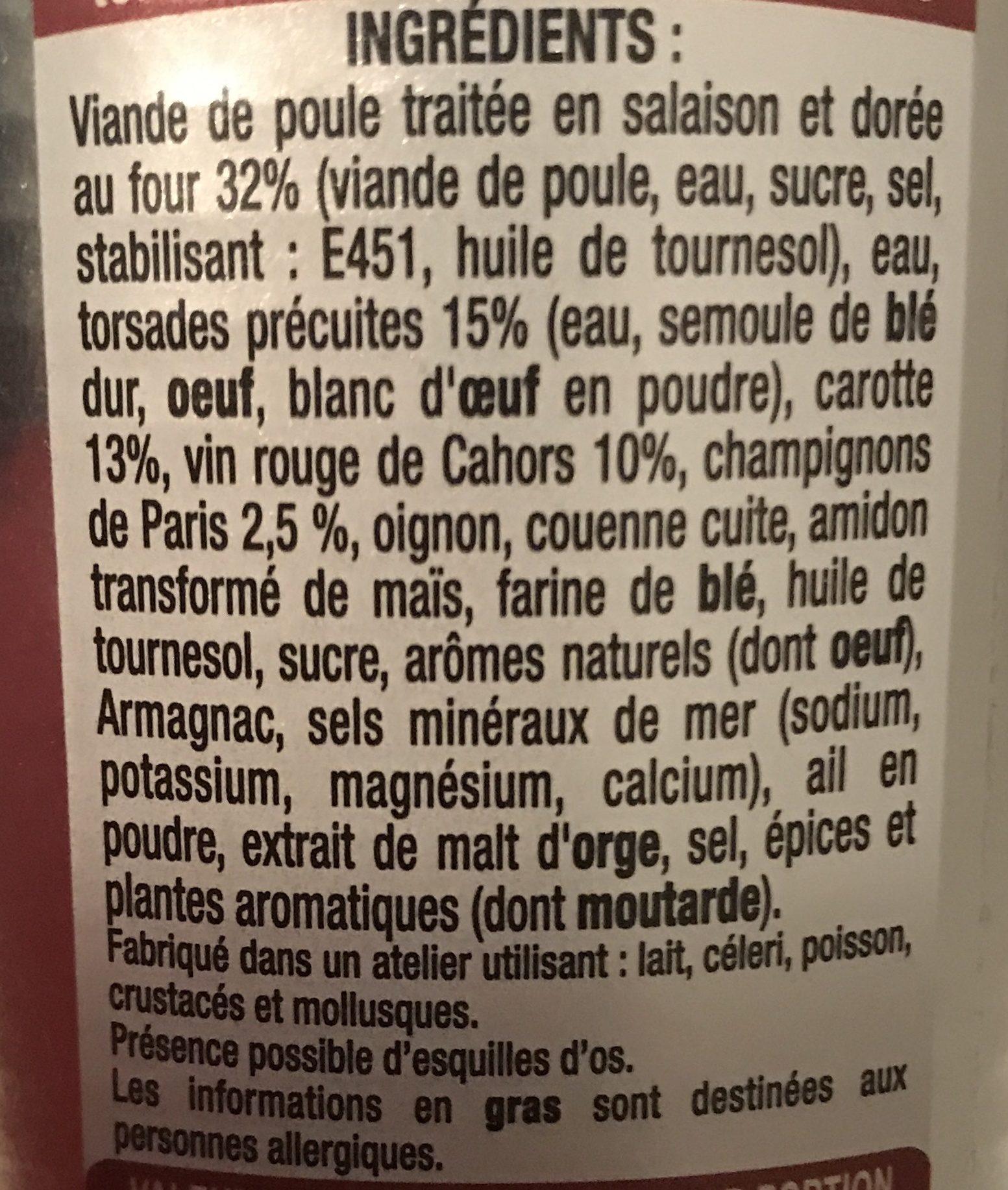 Coq Au Vin, Pâtes Et Champignons Raynal Et Roquelaure - Ingrédients - fr