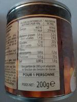 Lentilles cuisinées à l'Auvergne - Nutrition facts - fr