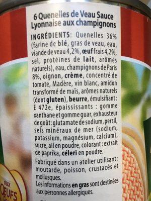 Quenelles de veau sauce lyonnaise aux champignons - Ingredients - fr