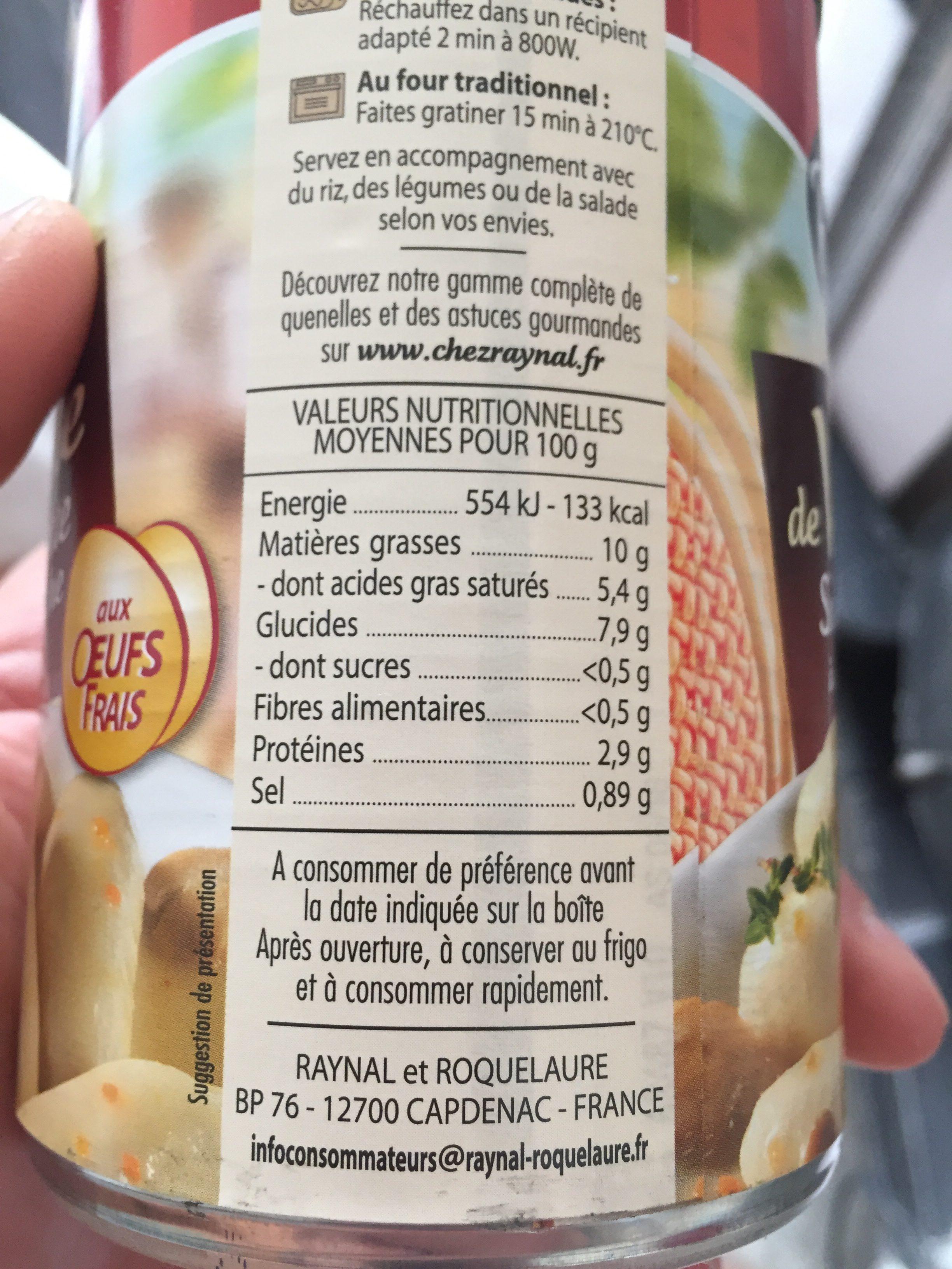 Quenelles de volaille sauce poulette à la crème fraîche - Ingredients - fr
