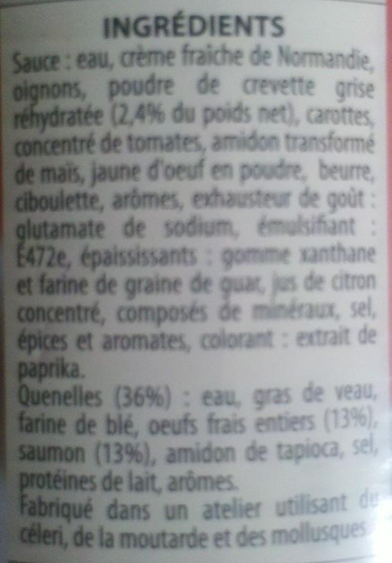 6 Quenelles de Saumon, Sauce Corail à la crevette (aux Œufs frais) - Ingrédients - fr
