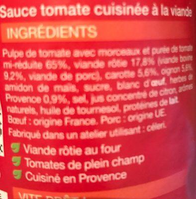 Sauce bolognaise Buitoni - Ingrédients