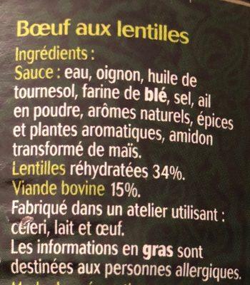 Boeuf aux lentilles - Ingredients