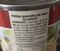 Petite quenelles de veau au naturel - Ingredients - fr