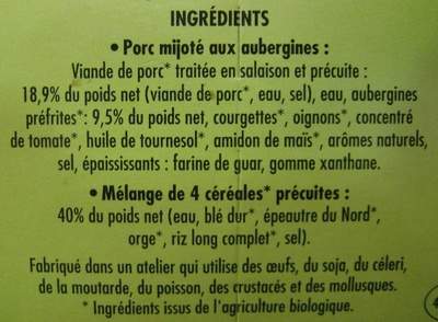 Porc Mijoté aubergines et 4 céréales BIO - Ingredients