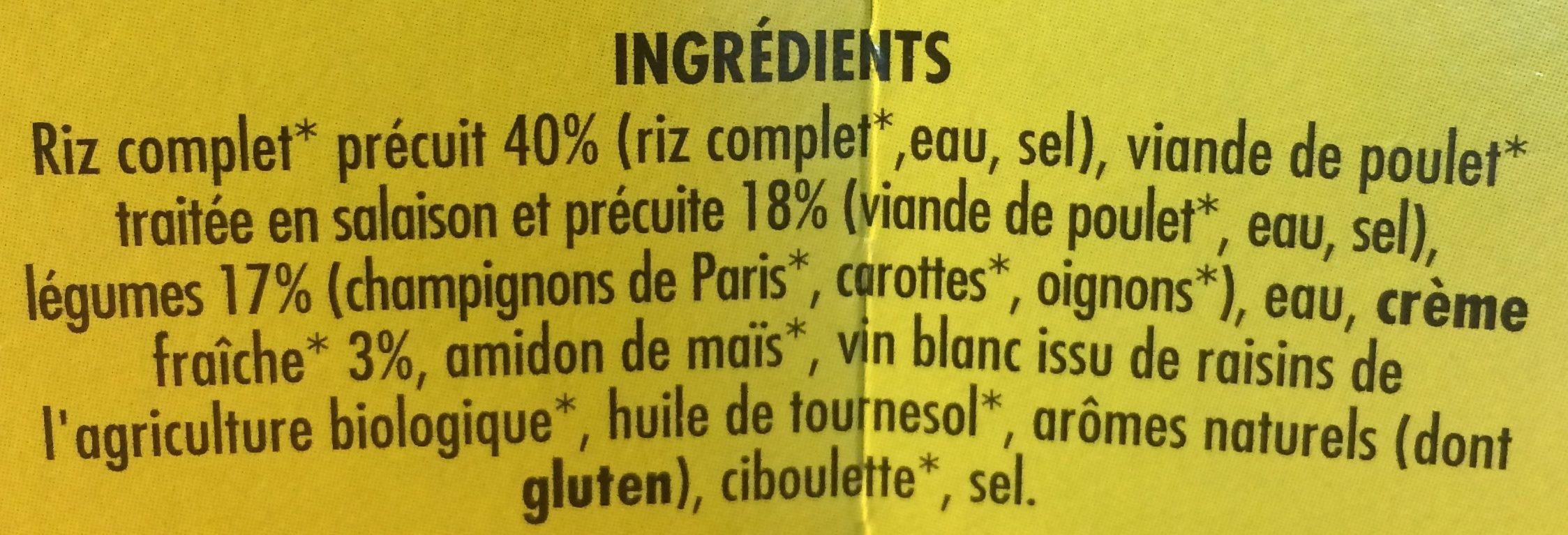 Fricassée de Poulet champignons et riz complet BIO - Ingrédients