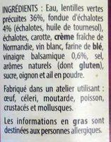 Lentilles vertes Fondue d'échalotes & Vinaigre balsamique - Ingredients - fr