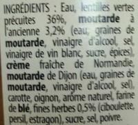Lentilles vertes Moutarde à l'ancienne & Fines herbes - Ingrédients - fr