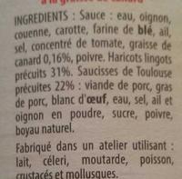 Saucisses Haricots Lingots à la graisse de Canard - Ingrédients - fr