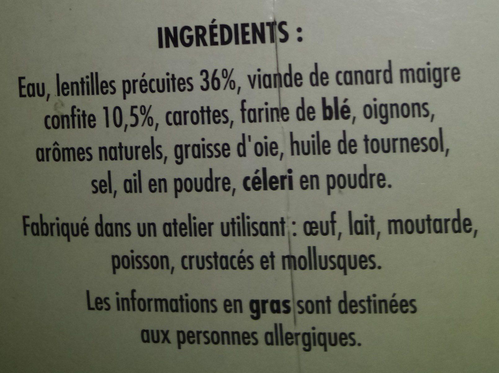 Lentilles Cuisinées aux Émincés de Canard - Ingredients - fr
