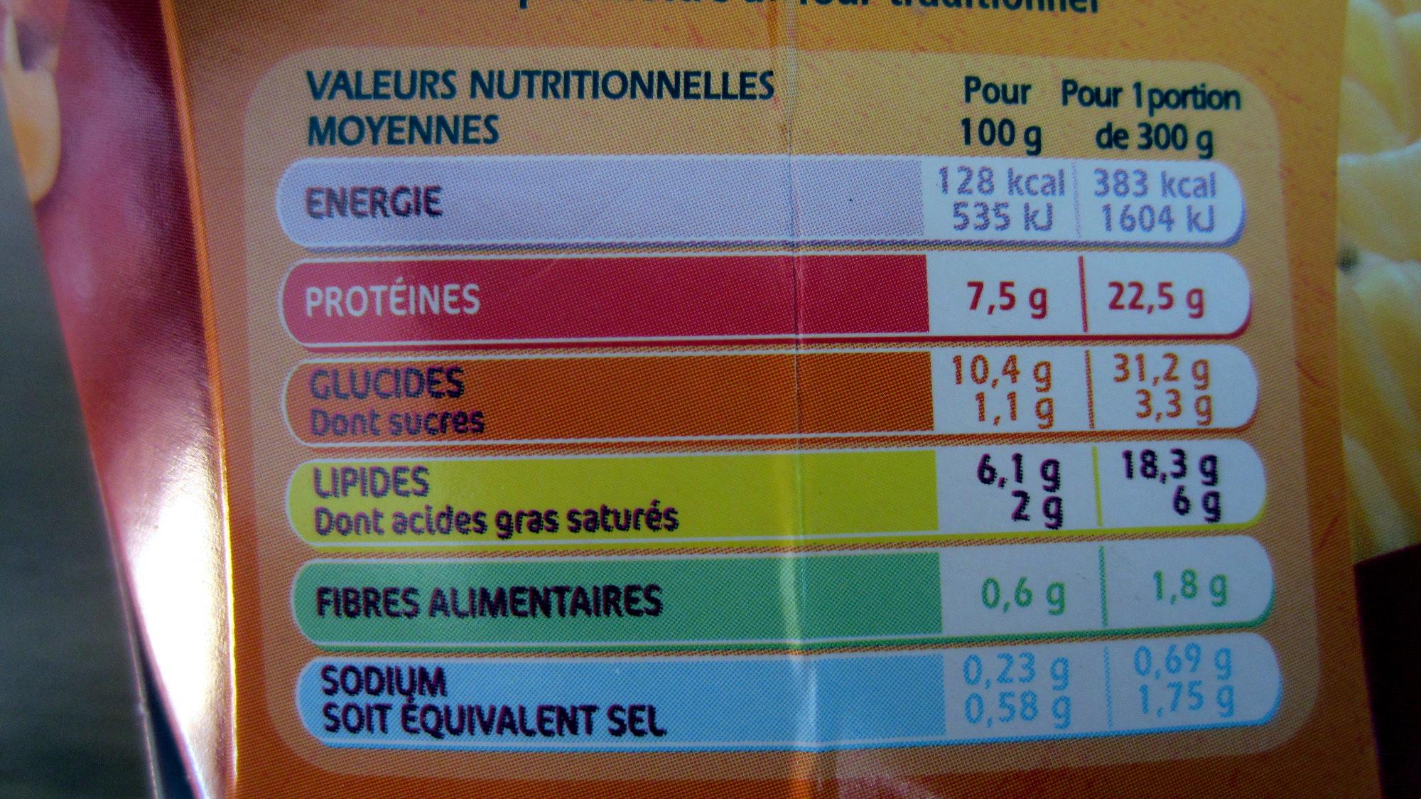 Mes Fusilli Carbonara - Valori nutrizionali - fr