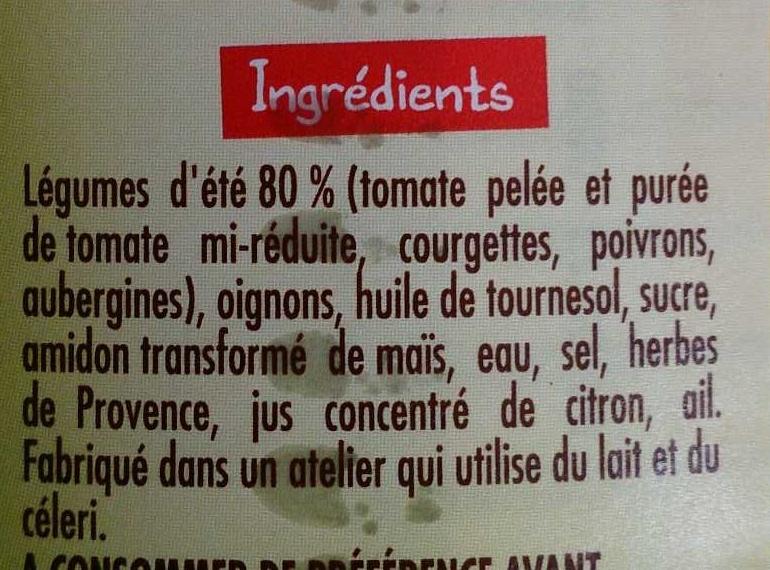 ratatouille aux légumes d'été - Ingrédients - fr