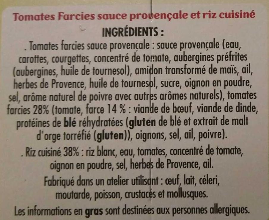 Tomates farcies Sauce Provençale et Riz - Ingredients - fr
