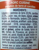 Porc Cocotte, pommes de terre et carottes - Ingredients - fr