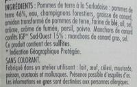 Manchons Confits Pomme de terre à la Sarladaise - Ingrédients - fr