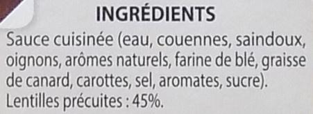 Lentilles cuisinées à l'Auvergnate - Ingredients - fr