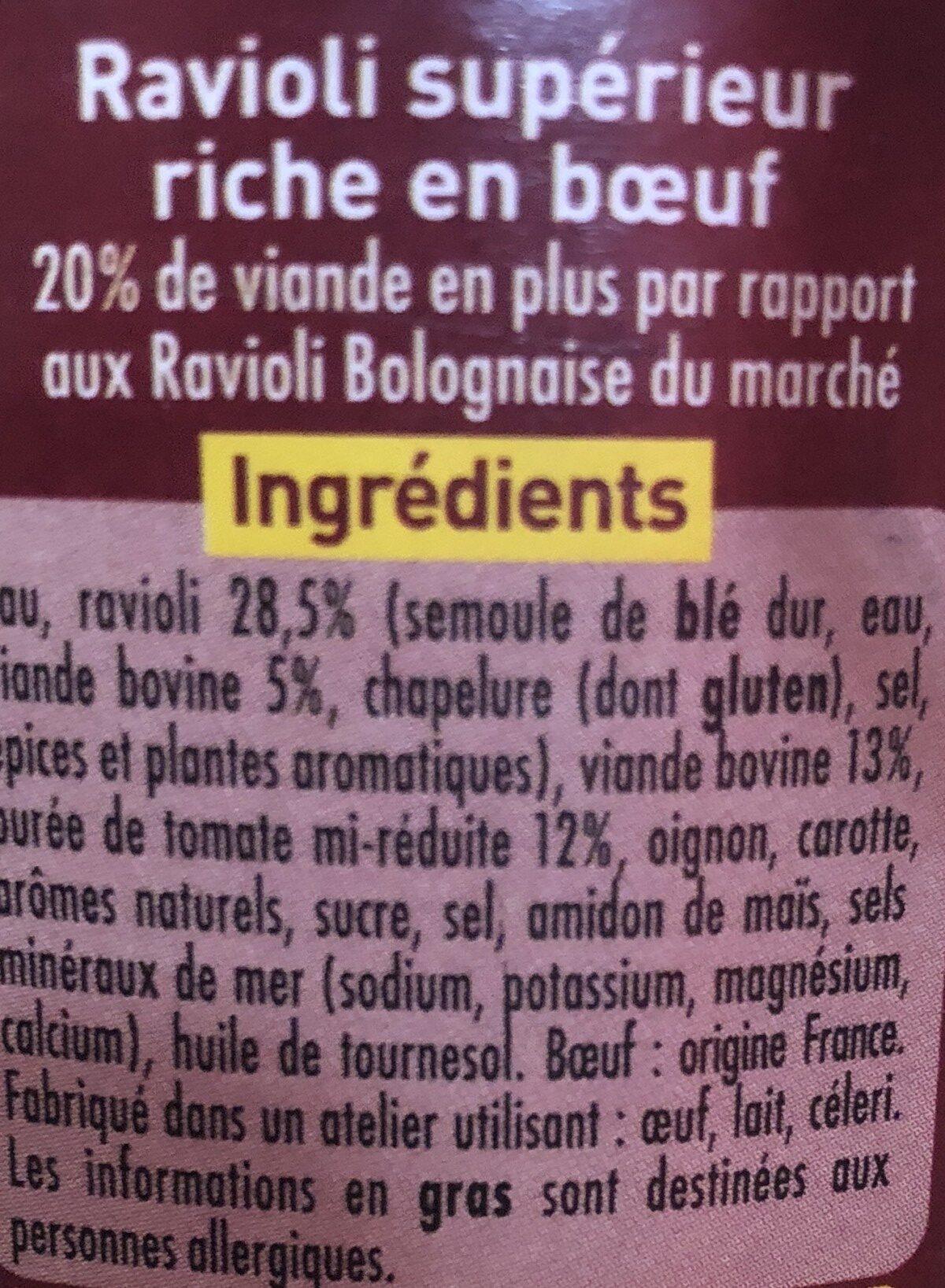 Ravioli max de Boeuf - Ingrediënten
